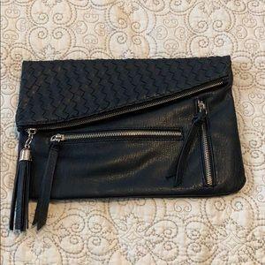 Black convertible large clutch